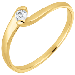 Solitaire Ring Precious Nest - Eternal passion - yellow gold - 0.08 carat - 18 carats