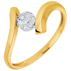 Solitaire Ring Precious Nest- Love Nugget - yellow gold - 9 carats