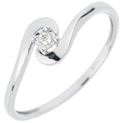 Solitaire Ring Precious Nest - Loving Union - white gold - 18 carats