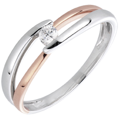 Solitaire Ring Precious Nest - Morning - pink gold - 0.10 carat - 18 carats