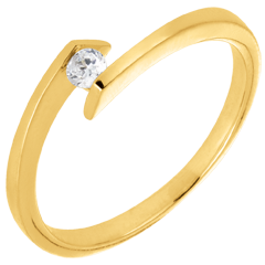 Solitaire Ring Precious Nest - Princess Star - yellow gold - 0.08 carat diamond - 18 carats
