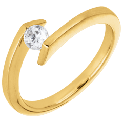 Solitaire Ring Precious Nest - Princesse star - yellow gold - 0.22 carats gold - 18 carats