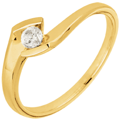 Solitaire Ring Precious Nest - Summer Night - yellow gold - 0.12 diamons - 18 carats