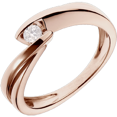 Solitaire Ring Precious Nest - Wave - Pink gold - 0.1 carat diamond - 18 caarts