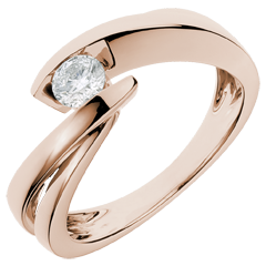 Solitaire Ring Precious Nest - Wave - Pink gold - 0.29 carat diamond - 18 carats