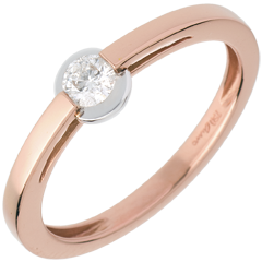 Solitaire Ring - roze gouden ring - bezel instelling