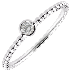 Solitaire Ring Salty Flower - one ring - white gold - 0.08 carat - 18 carat