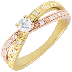 Solitaire Ring Saturn Duo double diamond - yellow gold and rose gold - 0.15 carat