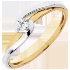 Solitaire Ring Silly - 0.08 karaat diamant - 18 karaat witgoud en geelgoud