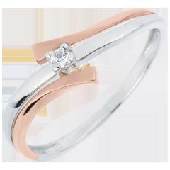 Solitaire Ring Solitaire Liefdesnest - Licht variatie - 0.032 karaat Diamant witgoud en rozégoud