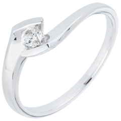 Solitaire Ring Summer Night - White gold
