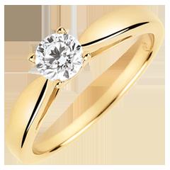 Solitaire roseau - diamant 0.4 carat - or jaune 18 carats