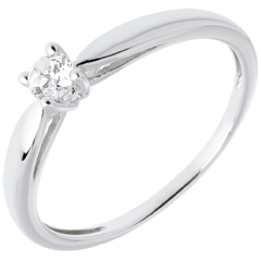 Solitaire roseau or blanc 18 carats - 0.14 carat