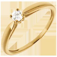Solitaire roseau or jaune 18 carats - 0.13 carat