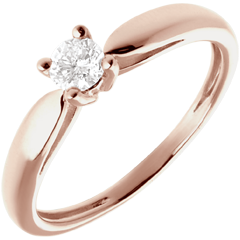 Solitaire roseau or rose 18 carats - 0.21 carat