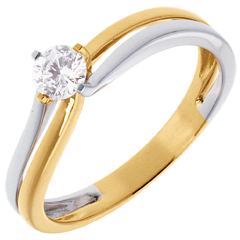 Solitaire Sillon - diamant 0.28 carats - or blanc et or jaune 18 carats