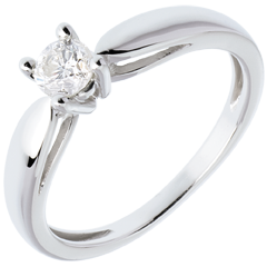 Solitaire tapered ring white gold - 0.3 carat