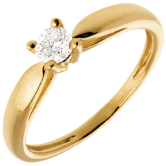 Solitaire tapered ring yellow gold - 0.21 carat
