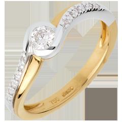 Solitaire Verseau pavé - diamant 0.25 carats - or blanc et or jaune 18 carats
