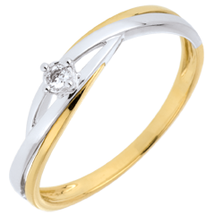 solitairs ring Diamant Nid Précieux - Dova 2 goudsoorten - 0.03 karaat Diamant - 18 karaat