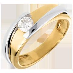 Solitär das Kostbarer Kokon - Anziehungskraft - Gelb und Weißgold (TGM +) - 0. 31 Karat - 18 Karat