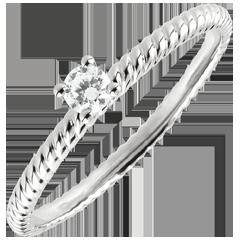 Solitär Ring Goldenes Seil - Weißgold