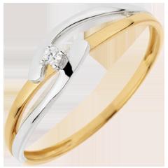 Solitär Ring Kostbarer Kokon - Doppelte Union - Gelb und Weißgold - 0. 02 Karat - 18 Karat