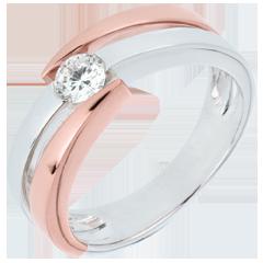 Solitär Ring Kostbarer Kokon - Inch' Allah - rosa Gold und Weißgold - 0. 25 Karat - 18 Karat
