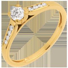 Solitario Altezza - Oro giallo - 18 carati - 9 Diamanti - 0.30 carati