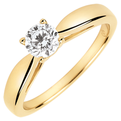 Solitario Caña - diamante de 0.4 quilates - oro amarillo 9 quilates