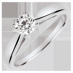 Solitario Caña - diamante de 0.4 quilates - oro blanco 9 quilates
