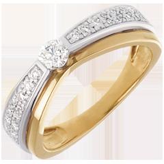 Solitario Maharajah pavé - Oro giallo e Oro bianco - 18 carati - 27 Diamanti - 0.38 carati