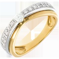 Solitario Maharajah pavé - Oro giallo e Oro bianco - 18 carati - 23 diamanti - 0.25 carati