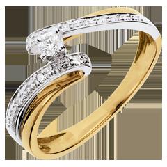 Solitario Nido Precioso - Sistema Solar - oro amarillo y oro blanco 18 quilates - diamante 0.08 quilates