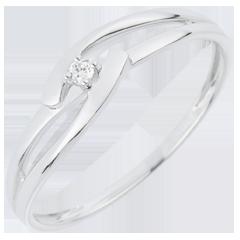 Solitario Nido Precioso - Unión Blanca - oro blanco 18 quilates