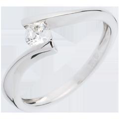 Solitario Nido Prezioso - Apostrofo - Oro bianco - 18 carati - Diamante - 0.26 carati