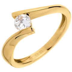 Solitario Nido Prezioso - Apostrofo - Oro giallo - 18 carati - Diamante - 0.31 carati