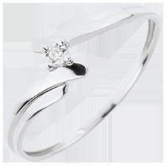 Solitario Nido Prezioso - Cigno - Oro bianco - 18 carati - Diamante