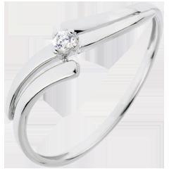Solitario Nido Prezioso - Evasione- Oro bianco - 18 carati - Diamante