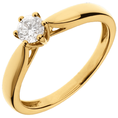 Solitario Ramoscello - 6 griffe - Oro giallo - 18 carati - Diamante - 0.30 carati