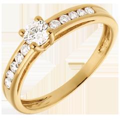 Solitario Schiarite - Oro giallo - 18 carati - 11 Diamanti - 0.39 carati