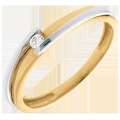 Solitärring Kostbarer Kokon - Anziehungskraft - Weiß-und Gelbgold - Diamant 0.04 Karat - 18 Karat