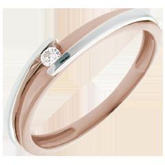 Solitärring Kostbarer Kokon - Anziehungskraft - Weiß-und Roségold - Diamant 0.04 Karat - 18 Karat