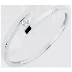 Solitärring Kostbarer Kokon - Pure Liebe - Weißgold - Diamant 0.03 Karat - 18 Karat