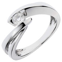 Solitärring Kostbarer Kokon - Undine - Weißgold - Diamant 0.27 Karat - 18 Karat