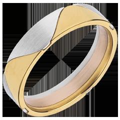 Sortija arlequín oro amarillo, oro blanco y oro rosa