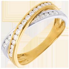 Sortija Tandem Empedrado - oro blanco y amarillo 18 quilates