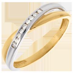 Sortija Tandem engaste diamantes - oro amarillo y oro blanco 18 quilates - 9 diamantes
