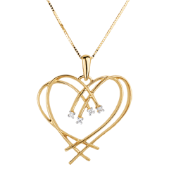 Sparkle Heart Pendant - 4 Diamonds