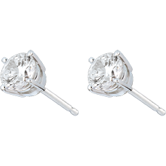 Stud Earrings white gold-4 prong diamond - 1 carat